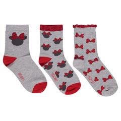 Juego de 3 pares de calcetines con estampado de Minnie ©Disney y lazos de jacquard