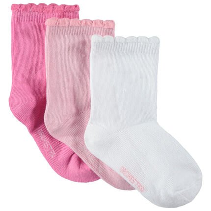 Juego de 3 pares de calcetines lisos con canalé de fantasía