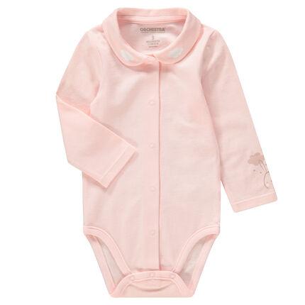 Body manches longues en jersey rose avec col Claudine et motif printé