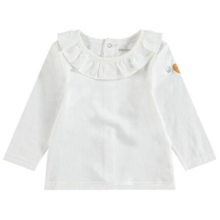 Camiseta de manga larga de algodón con cuello con volantes y corazón brillante