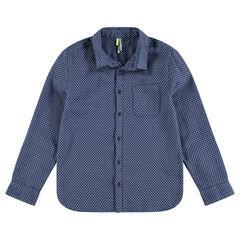 Júnior - Camisa de manga larga y pequeño dibujo estampado y bolsillo