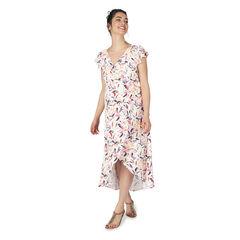Vestido largo de premamá con mangas con volantes y estampado vegetal all over