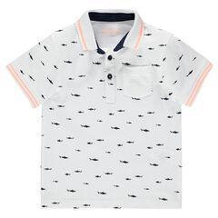 Júnior - Polo de manga corta de piqué de algodón con estampado de peces