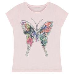 Camiseta de manga corta con mariposa de lentejuelas mágicas