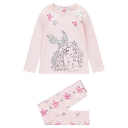 Pijama largo de punto con estampado de Ariel ©Disney y flores