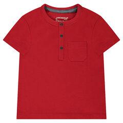 Camiseta de manga corta con bolsillo y punto slub