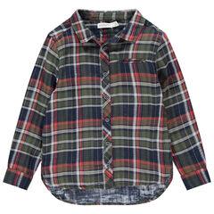 Camisa de cuadros de manga larga con bolsillo
