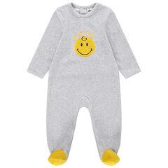 Pijama de terciopelo con Smiley bordado y pies que contrastan