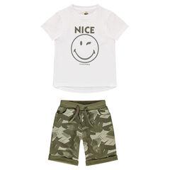 Conjunto de camiseta con estampado Smiley y bermudas de muletón militar