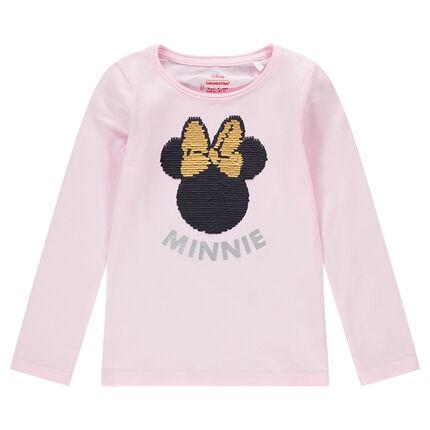 Camiseta de manga larga con Minnie de ©Disney en lentejuelas mágicas