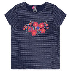 Camiseta de manga corta con estampado de flores y lunares