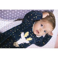 Pijama de terciopelo con estrellas estampadas y reno bordado navideño