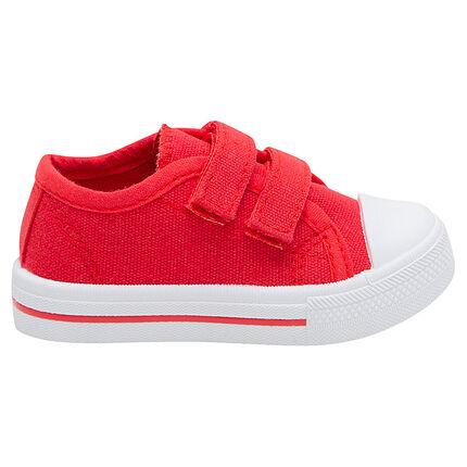 Zapatillas bajas de tela lisa roja con velcro del 24 al 27