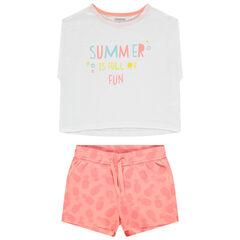 Conjunto camiseta con mensaje y pantalon corto estampado ananas