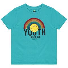 Camiseta de manga corta de algodón ecológico con estampado Smiley y lentejuelas mágicas