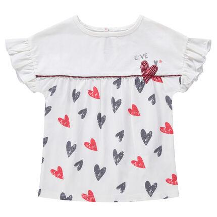 Camiseta de manga larga con volantes y corazones estampados