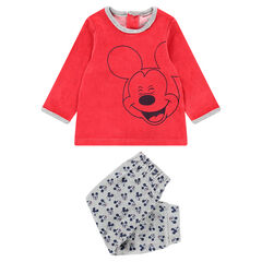 Pijama de terciopelo con estampado de Mickey ©Disney y pantalón all-over