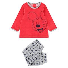 Pijama de terciopelo con estampado de Mickey ©Disney y pantalón all-over