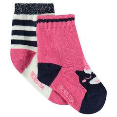 Juego de 2 pares de calcetines variados con unicornio de jácquard