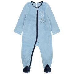 Pijama azul de borreguillo con cremallera y corazón cosido