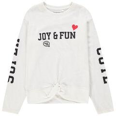 Júnior - Camiseta de manga larga con inscripciones estampadas y efecto anudado