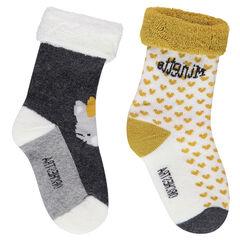 Juego de 2 pares de calcetines variados con corazones y gato de jacquard