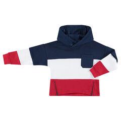 Sudadera de felpa tricolor con bolsillo de parche y cremalleras por delante