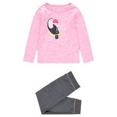 Pijama de punto bicolor con pájaro de borreguillo estampado por delante