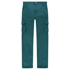 Júnior - Pantalón de sarga verde con bolsillos