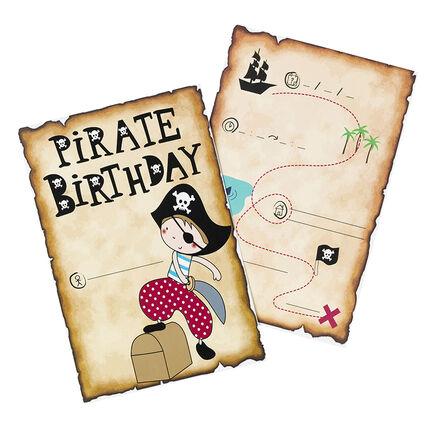 x 10 tarjetas de invitación de cumpleaños Pirata