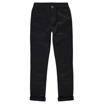 Júnior - Pantalón de tela liso con detalle de pespuntes en las piernas