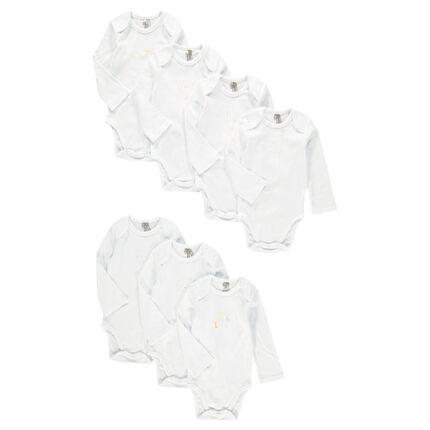 Pack de 7 bodis de manga larga de algodón con estampados de fantasía