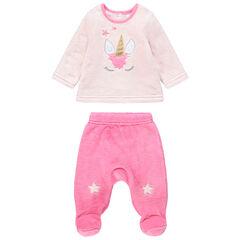Pijama de borreguillo bicolor con unicornio dorado