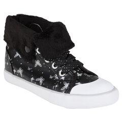 Zapatillas de deporte de caña alta de color negro con estampado con mariposas con pliegue de tela sherpa