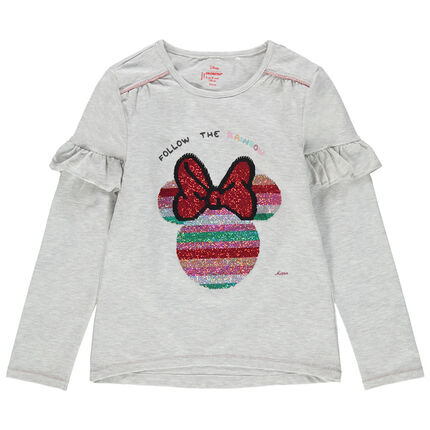 Camiseta de manga larga con volantes de lentejuelas mágicas Minnie