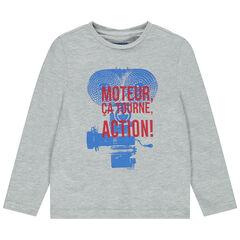 T-shirt manches longues en coton bio à motif fantaisie