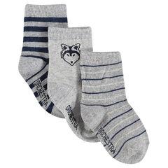 Lote de 3 pares de calcetines con rayas estampados de perros