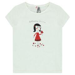 Camiseta de manga corta con estampado de niña
