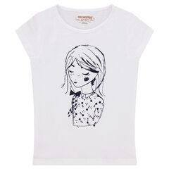 Camiseta de manga corta de punto con estampado de muñeca
