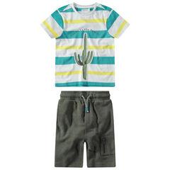Conjunto con camiseta de rayas y estampado cactus con bermudas de felpa