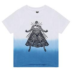 Camiseta de manga corta de punto slub con ©Warner Supermán estampado por delante.