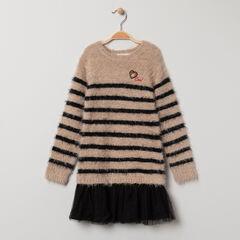 Robe tricot effet 2 en 1 bi-matière à coeur brodé et rayures
