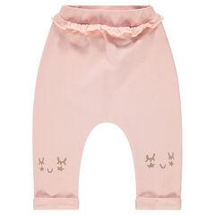 Pantalón de chándal de felpa lisa con detalles estampados