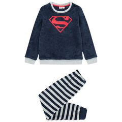 Pijama polar de rayas con logotipo de Superman bordado