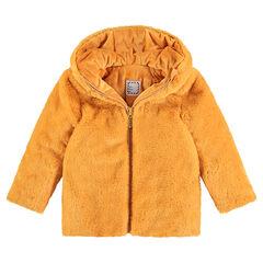 Abrigo de pelo falso color mostaza con forro de borreguillo