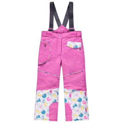 Pantalón de esquí rosa con tirantes desmontables y bolsillos