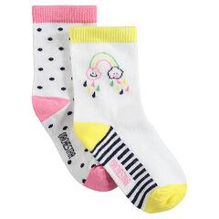Juego de 2 pares de calcetines variados con lunares y arcoíris de jacquard