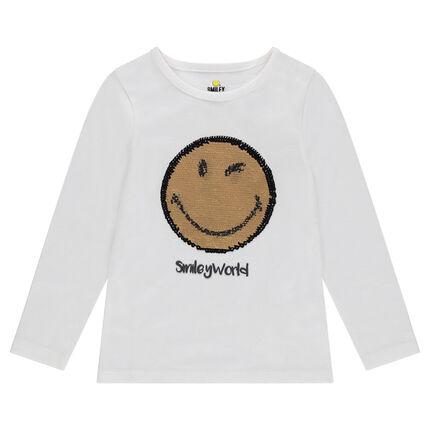 Camiseta de manga larga de punto con ©Smiley de lentejuelas mágicas