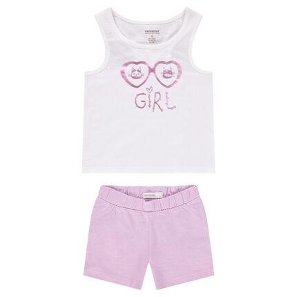 Pijama con camiseta sin mangas y short con estampado de gafas