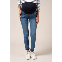 Vaquero de embarazo con corte slim, efecto desgastado y banda alta